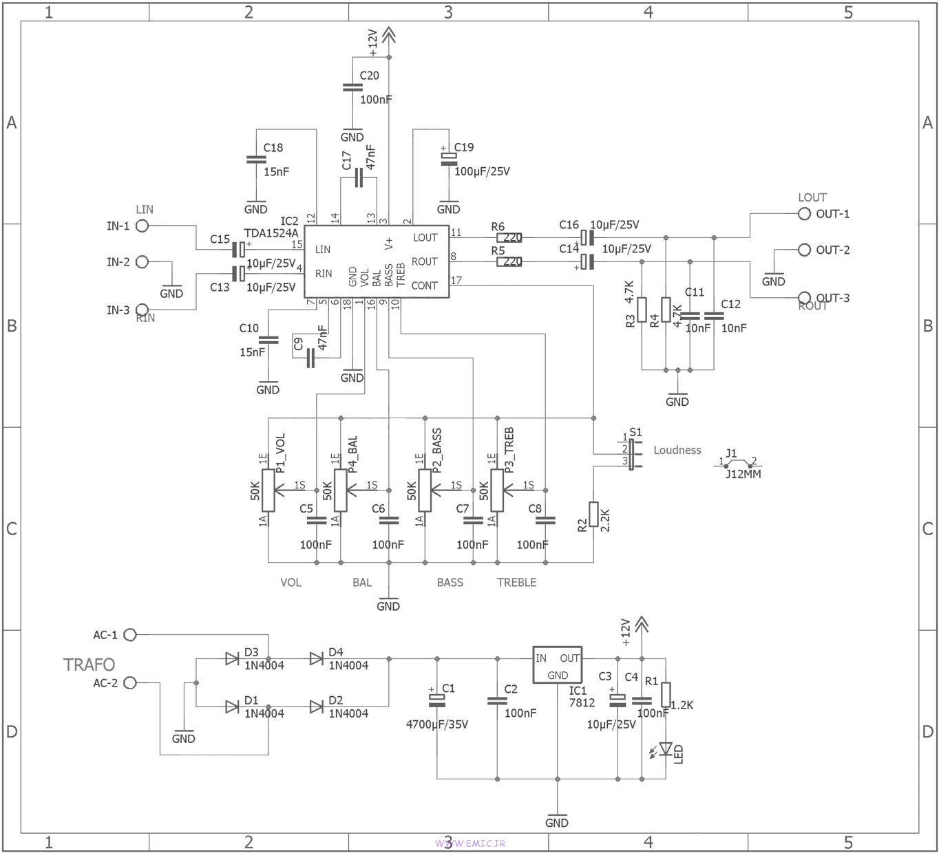 Circuit-Stereo-Preamplifier-With-TDA1524A