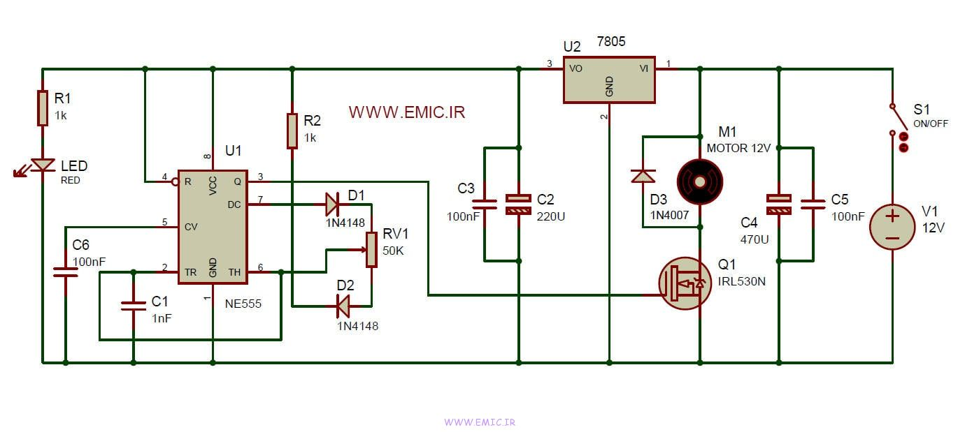 DC-motor-Speed-Controller-with-555-emic