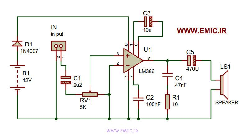 Amplifier-with-lm386-emic