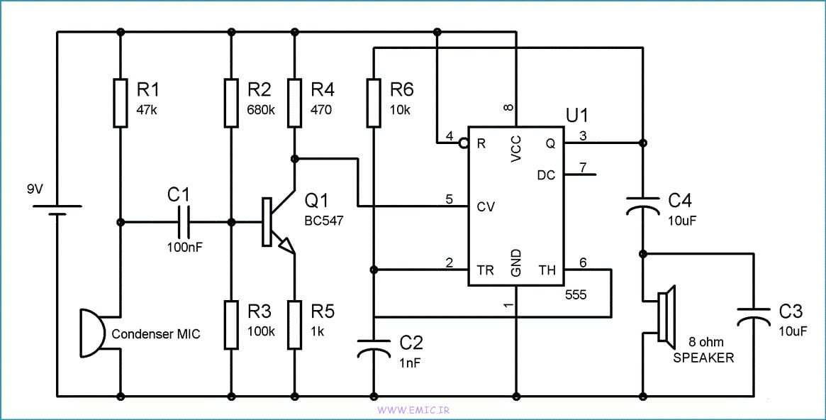 Audio-Amplifier-Circuit-with-ic555-emic