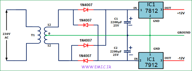 12V-dual-power-supply-for-audio-tone-control-circuit-emic