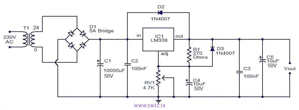 adjustable-regulator-using-LM338-IC-emic