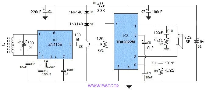 ZN415-AM-Radio-with-TDA2822M-Amplifier-emic
