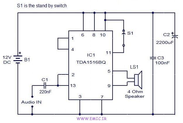 24W-amplifier-using-TDA1516-emic