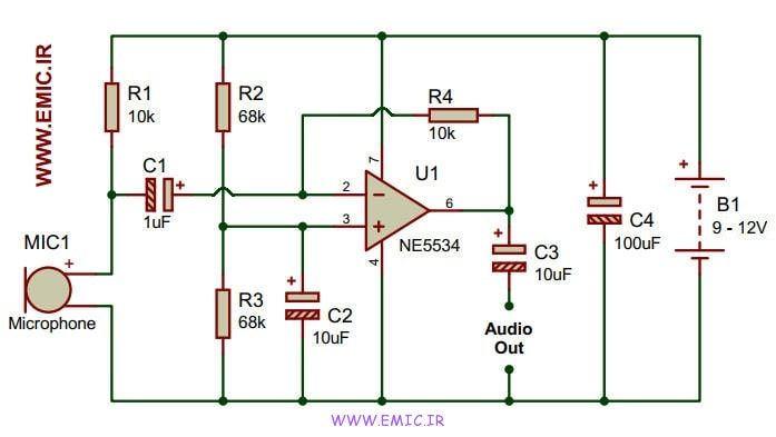 Low-Noise-Microphone-Preamplifier-Circuit-Using-NE5534-IC-emic