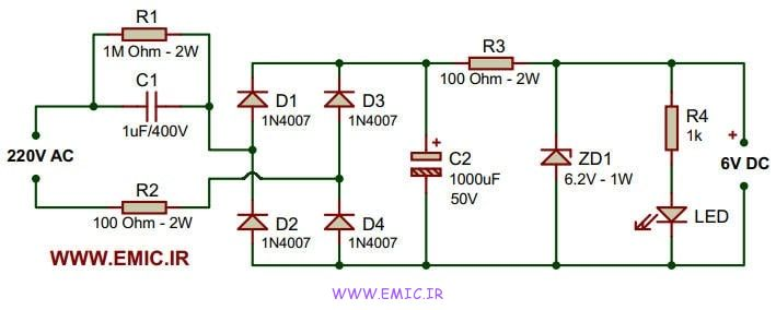 Transformerless-6V-power-supply-circuit-emic