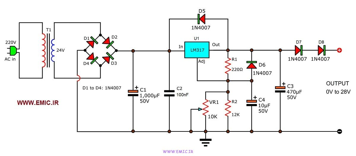 Variable-power-supply-0-to-28V-using-LM317-emic