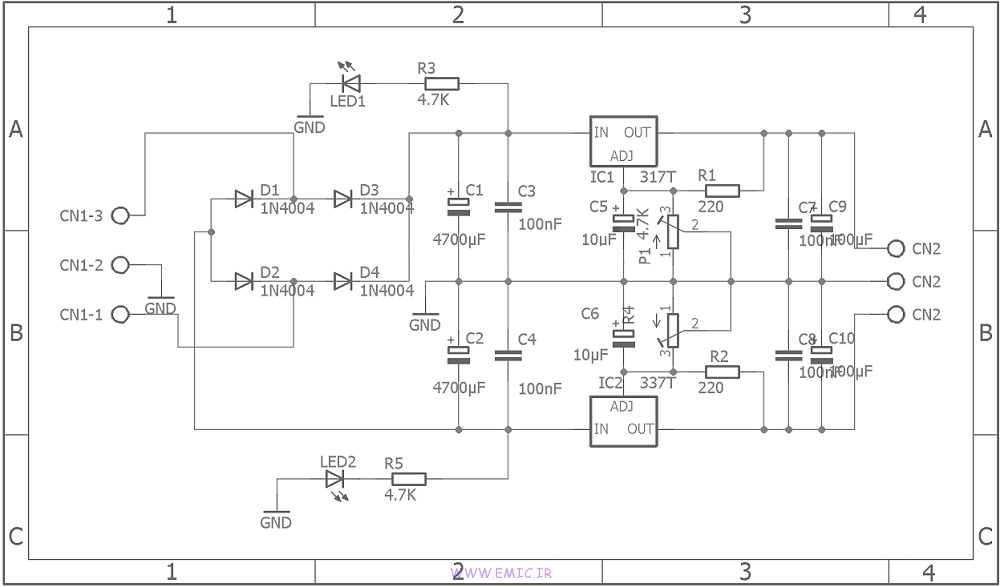 Adjustable-Symmetrical-Power-Supply-With-LM317-and-LM337