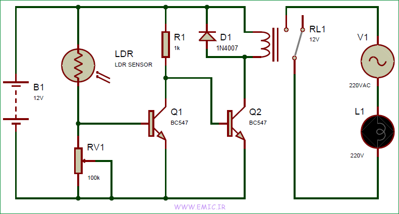 Automatic-Street-Light-using-LDR-and-relay-circuit-diagram-emic