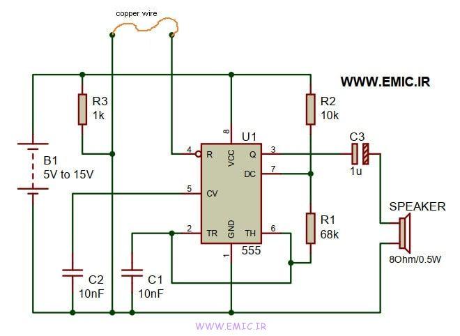 Simple-Burglar-alarm-Circuit-using-IC-555-emic