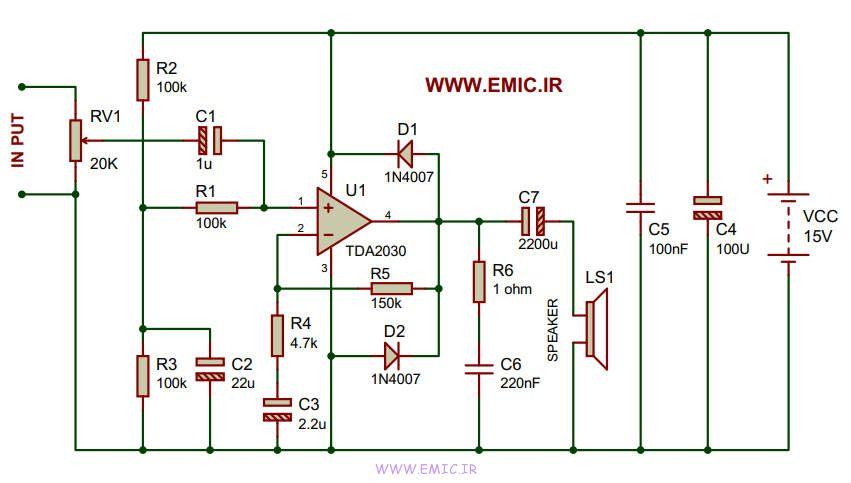 14Watt-Amplifier-circuit-with-TDA2030-emic