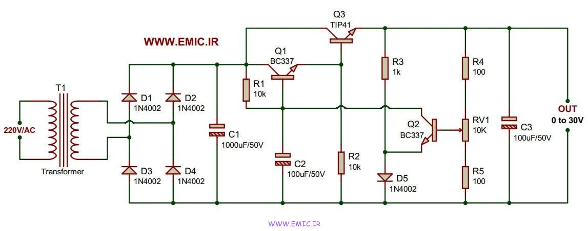 Transistor-Variable-power-supply-1A-0to30V-emic