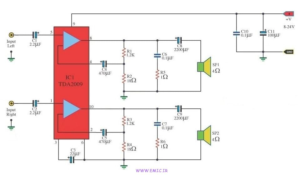 10W-Stereo-Audio-Amplifier- Using-TDA2009A-emic