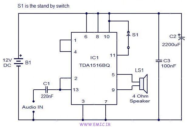 24W-amplifier-using-TDA1516-emic