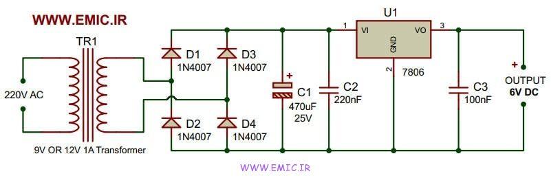 6V-power-supply-using-7806-emic