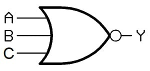 نماد گیت منطقی NOR سه ورودی